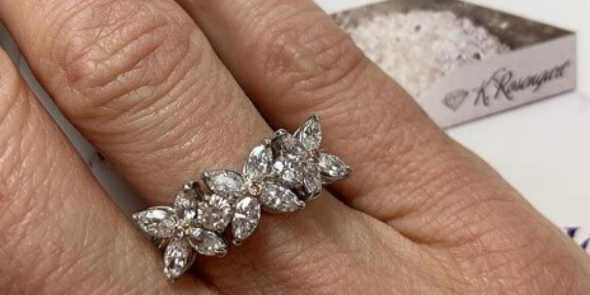 A custom-designed diamond cluster ring by K. Rosengart