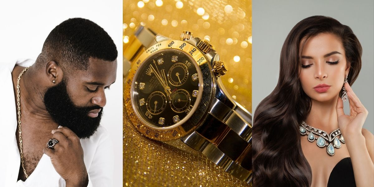 A man wearing jewelry, an expensive watch, and a woman wearing jewelry, representative of jewelry market segmentation