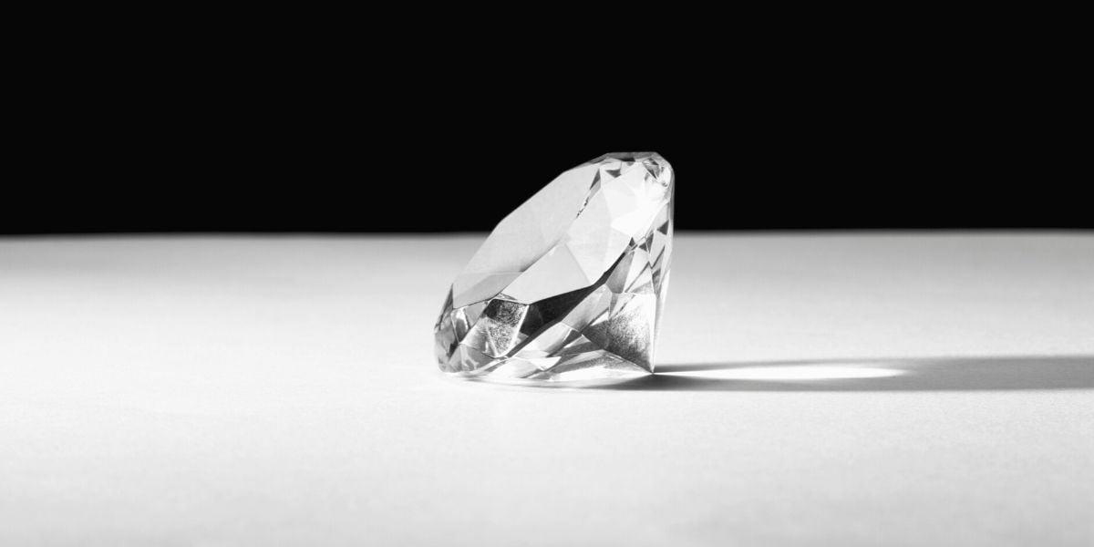 An ideal cut diamond casting a long shadow