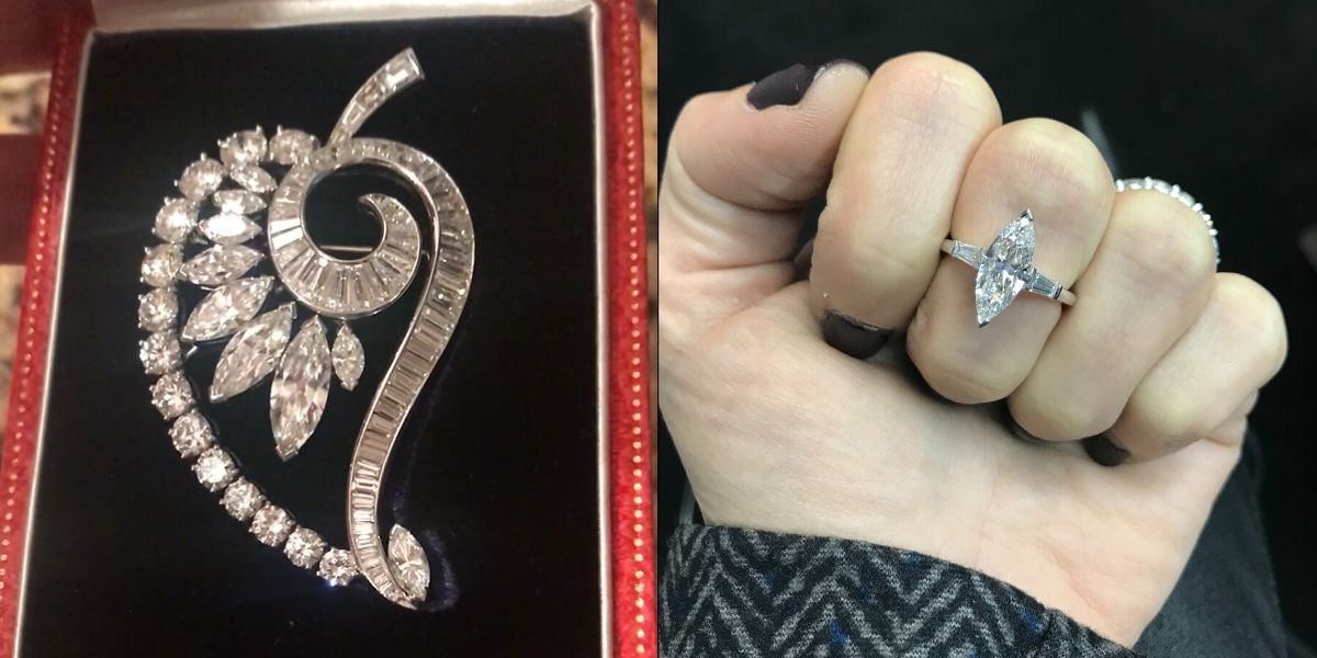 A before and after comparison showing a diamond from an old brooch being repurposed into a new diamond ring