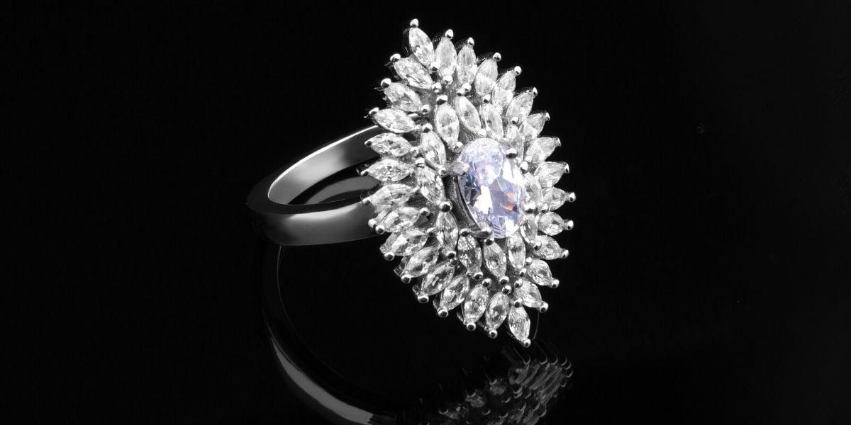 A beautiful, intricately designed diamond ring